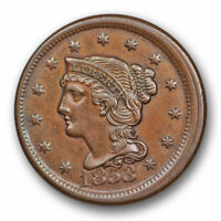1853 Braided Hair Large Cent Broadstruck Mint Error About Uncirculated #10325