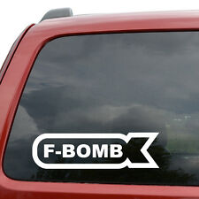 "F Bomb JDM Car Window Decor Vinyl Decal Sticker- 6"" Wide White"