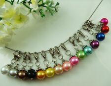 10pc Silver Handmade charm bead pearls Pendant fit European bracelet DIY gift