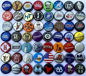 50 >>>UNIQUE, DIFFERENT<<< **ASSORTED** BEER BOTTLE CAPS. NO DUPLICATES!!