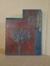 Large Antique Copper Wood Block Print Stamp Flower Bouquet Gladiolas