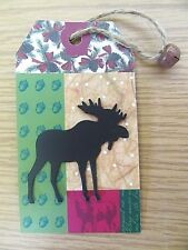12 Christmas Gift Tag 3D Metal Bell & Moose Die Cut, Pine Cone Country Red Green