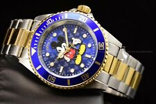 Invicta 40mm Disney Limited Ed. Pro Diver Two Tone Blue Mickey Mouse SS Watch