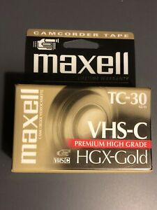 VHS Video-C Cassette  Camcorder MAXELL 2 Pack HGX-GOLD TC-30. Factory Sealed