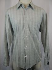 Men's Geoffrey Beene 100% Cotton LS Gray Windowpane Casual Shirt size L
