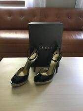 4023787f164 Gucci ankle strap black patent leather gold platform open toe pumps 7.5 B