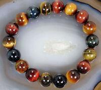 Natural 10mm Multi-color Tiger's Eye Round Beads Stretch Bracelet Bangle 7.5''