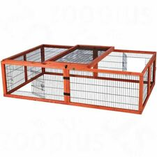 Outdoor Rabbit Run with Roof Rectangle Guinea Pigs Made of Pine Hinged Fence