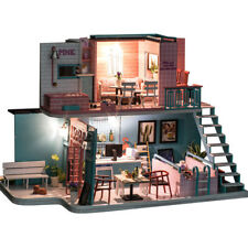 Coffee Shop DIY Doll House Miniature Furniture Kit Led Light Children Toys Gift