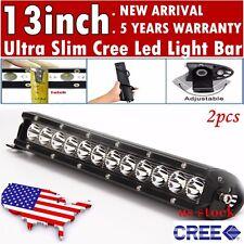 2pcs 13inch CREE Led Light Bar Ultra Slim Flood Offroad Driving Truck SUV ATV 10