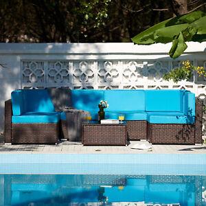 7pcs Outdoor Patio Furniture Set Rattan Wicker Sectional Sofa Glass Table Walnut