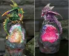 More details for nemesis now crystal guard led colour changing amethyst emerald geode dragon gift