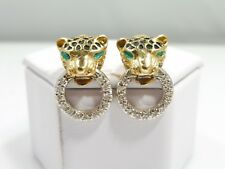 14K GOLD, ENAMEL AND DIAMOND LEOPARD DOOR KNOCKER EARRINGS