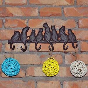 Wall Mounted Cast Iron Tail Hook Cat Dog  Key Rack Rustic Home Kitchen HeavyDuty