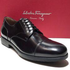 Ferragamo Captoe 10 D 43 Men's Oxford Luxury Leather Black Dress Shoes Formal