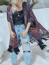 Silk and velvet boho kimono wth beautiful velvet detail with tassels. One Size.