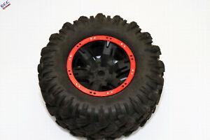 2x Traxxas X-Maxx Wheels Beadlock Look Rim Trims (ABS) Red With Silver Screws
