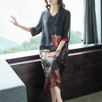 Chinese Fashion Women Silk Floral Cocktail Kaftan Ethnic Retro Shift Dress M-4XL