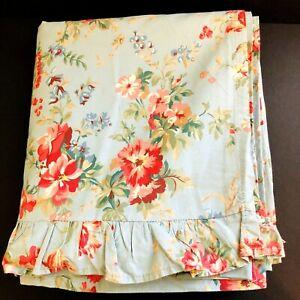 Ralph Lauren YVETTE Flat Sheet Ruffle FULL DOUBLE Blue Floral Shabby Cottage