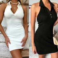 Womens Sexy V-Neck Bodycon Short Mini Dress Summer Slim Party Clubwear Dresses