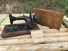 Vintage antique Frister & Rossmann Hand Crank Sewing Machine in inlaid case