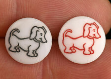 Two Vintage White Glass Kiddie Picture Sewing Buttons Dachshund Weiner Dog 1/2""