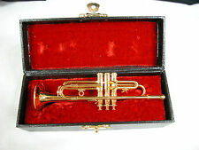 "Dollhouse Miniature Music 1:6 Scale  5"" Trumpet w/case #Z225 Will Not Play"