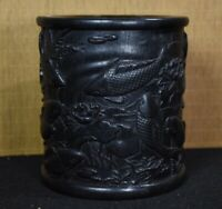 Collect noble natural ebony wood carved Lotus fish Chinese Brush Pot Pencil Vase