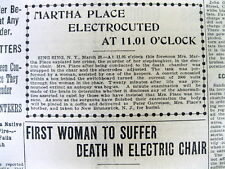 1899 display newspaper 1st WOMAN ToBe EXECUTED inThe ELECTRIC CHAIR Martha Place