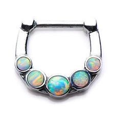 316l Opal Gem septum nose ring clicker body jewelry piercing prong ear lip w75