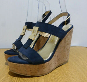 BNIB Russell & Bromley Treat navy suede strappy wedge sandals 36 3 NEW