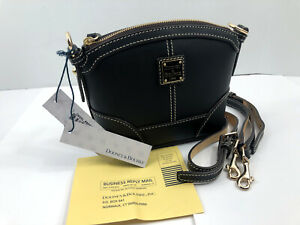 Dooney & Bourke BLACK Beacon Mini Domed Crossbody Shoulder Leather Purse NWT