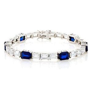 "Jean Dousset Absolute Emerald Cut Created Sapphire Silver Bracelet 7-1/2"" Hsn"