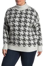 Vince Camuto Houndstooth Print Turtleneck Sweater 169$ Plus Size 2X
