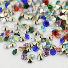 160 Cabochons 5mm Strass Diamant Conique Résine Couleur Mixte