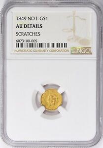 1849 No L NGC AU Details Gold Dollar Small Liberty Head Tough Coin Abt Uncirc