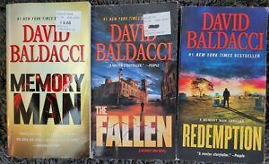 DAVID BALDACCI MEMORY MAN TITLES 3 BOOK LOT THRILLER SUSPENSE PAPERBACK NOVELS