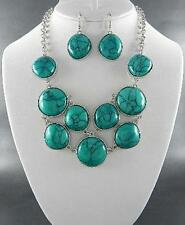 Turquoise Lucite Stud Silver Tone Finish Statement Necklce Earring