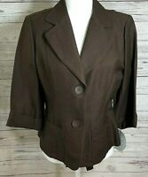 Emma James Womens Size 8 Blazer Jacket Brown Career Pleated Button Front Coat