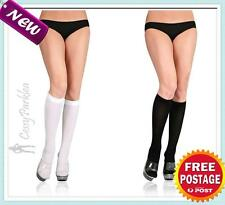 Opaque Knee High Stockings Black White Fancy Dress Costume Stockings