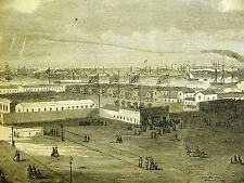 Civil War NEW BARRACKS BATTERY NYC 1864 Antique Engraving Print Matted