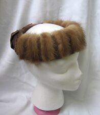 Vintage Mink Fur Pill Box Hat Retro Chic