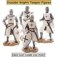 Hand Painted Medieval Crusader Knight Sword Crusade Polyresin Gift 20 cm//7.87 /""
