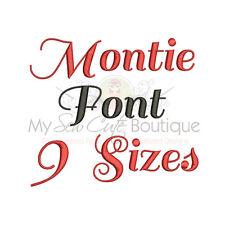 MONTIE ALPHABET FONT MACHINE EMBROIDERY DESIGNS - 9 SIZES - IMPFCD43