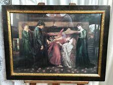 Vintage Dante Gabriel Rossetti 'Dantes Dream' Framed Print.