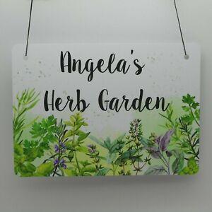 Personalised Herb Garden Plaque Sign Kitchen Garden Weatherproof Metal Name