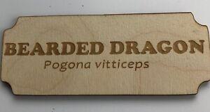 Bearded Dragon - Birch Wood Plaque 11.5cm x 4.5cm - Reptile  - Unique - New Gift