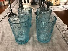BLUE BUNNY RABBIT HOBNAIL VINTAGE INSPIRED  4 GLASS TUMBLERS GLASSES CUPS NEW