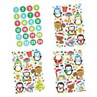24 Adventskalender Zahlen Aufkleber und Tier Stickerbögen - Weihnachten basteln