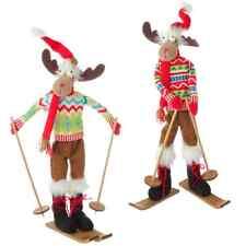 """NEW!~Raz Imports Large 21"""" Posable Christmas Skiing Moose~ Set of TWO - 3529136"""